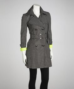 Take a look at this Black & White Stripe Trench Coat by Black Rivet on #zulily today!