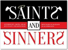 Saints and Sinners Halloween Party Invitations