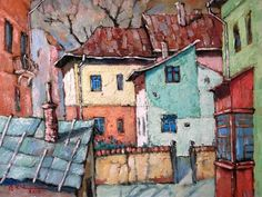 David Croitor, 1958 ~ Old street of Bucharest Street Painting, City Painting, Painting & Drawing, Unique Paintings, Paintings I Love, House Paintings, Flower Paintings, Old Street, Street Art