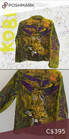 Denim Jacket Kobe Bryant **LIMITED SUPPLY  RIP Kobe Bryant custom Available in all sizes for Men and Women. Look at the last picture for color variations.  All of our designs are handmade and made to order, we manage our orders professionally and use original high quality sneakers. Please allow up to 10 business day for your order to get processed. CUSTOMDISTRICT Jackets & Coats Vests Kobe Bryant, Colorful Pictures, Vests, Man Shop, Denim, Yellow, Best Deals, Business, Coat