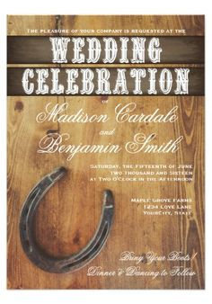 Rustic Country Western Horseshoe Rustic Wedding Invitations on a barn wood background.  Two Sided.  40% OFF when you order 100+ Invites. #wedding #country