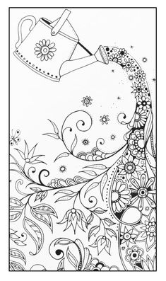 "Free coloring page coloring-adult-magical-watering-can. | free sample | Join fb grown-up coloring group: ""I Like to Color! How 'Bout You?"" https://m.facebook.com/groups/1639475759652439/?ref=ts&fref=ts"