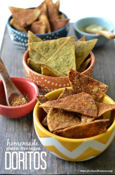 Homemade Vegan Doritos (3 Different Flavors) - Fork  Beans #vegan #recipes #delicious #recipe