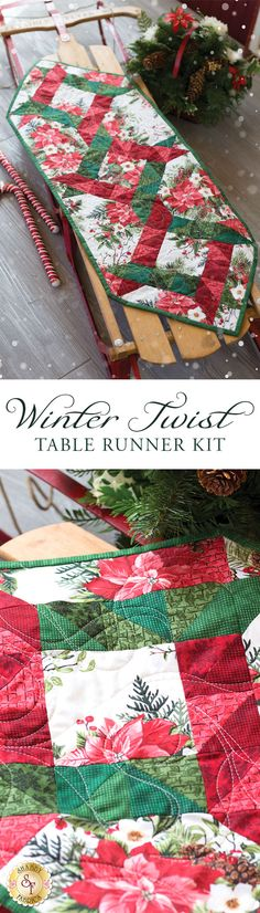"Winter Twist Table Runner Kit Give your table an extra festive touch this year with the beautiful Winter Twist Table Runner! This runner features stunning shades of reds and greens, surrounded by beautifully illustrated poinsettias. Table Runner finishes to approximately 14½"" x 40"". A beautiful coordinating Winter Twist Quilt Kit and Winter Twist Kaleidoscope Quilt Kit are also available!"