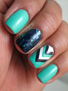 Turquoise chevron nails with a glitter accent nail