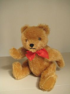 In my #ETSY Shop: #Hermann Vintage Gold Mohair #Teddy Bear - 10 Inches Tall - Green & White Arm Tag