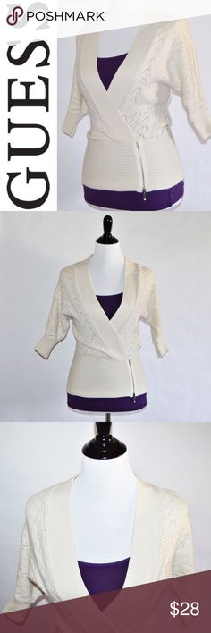"""Guess Off-White/Cream Sweater Guess Off-White/Cream Sweater 60% Acrylic / 26% Wool / 14% Nylon  EUC. One of my favorite sweaters that no longer fits. Beautiful on. Purple cami not included.  Measurements Small-Chest:17"""" across / 34"""" around, Length:24"""", Sleeve Length:14""""  🔆Bundle 2 items = 10% OFF 🔆Bundle 3 or more = MAKE OFFER ❌ No Trades Guess Sweaters"""