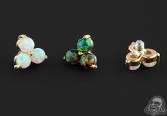 Anatometal 18K Yellow Gold Opal Trinity ends