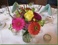 simple flower arrangements in mason jars | will be adding some raffia ribbon to each jar before brining them to ...