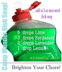 Doterra dishsoap:   6 drops Lime  3 drops Bergamot  2 drops Lavender  1 drop Lemon  3 oz unscented dish soap