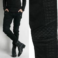 Remember Click/Quilted Black Skinny Jeans Men's Pants Korean P0000IHU #RememberClick #SkinnyPants