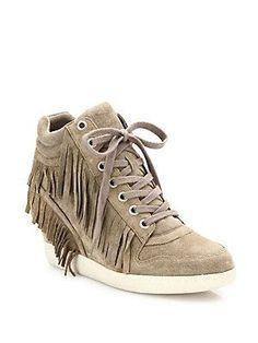 Ash Beatnik Fringed Suede High-Top Wedge Sneakers - Beige - Size