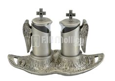 Cruets Set for Mass with Angel wings and enamels