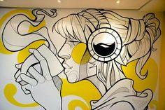 Wallpainting Design Office on Behance Graffiti Art, Murals Street Art, Street Wall Art, Wall Painting Decor, Mural Wall Art, Deco Cafe, Doodle Wall, Office Mural, Cafe Art