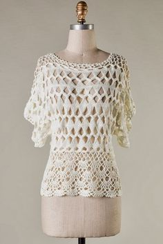 Crochet Lonny Top in Ivory on Emma Stine Limited: Hairpin Lace Patterns, Hairpin Lace Crochet, Crochet Patterns, Crochet Fall, Knit Crochet, Broomstick Lace, Crochet Shirt, Lace Outfit, Lace Tops