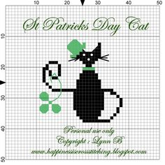 Happiness Is Cross Stitching - Free cross stitch patterns, tutorials for finishing your cross stitch, gift ideas and free mini black cat cross stitch patterns. Mini Cross Stitch, Cross Stitch Animals, Cross Stitch Charts, Cross Stitch Designs, Cross Stitch Patterns, Cat Cross Stitches, Cross Stitching, Cross Stitch Embroidery, St Patrick's Cross