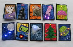 LED ATCs by Cheryl Sleboda (2010). Her site Muppin.com has some lovely examples of electronics incorporated with quilting.
