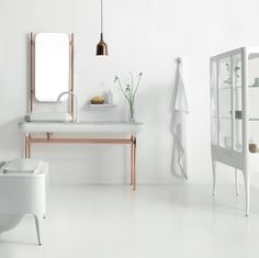 Love the contrast of warm copper and crisp white