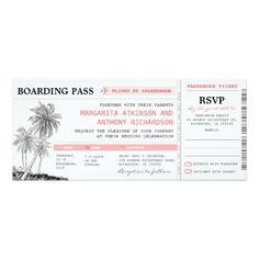 "tropical boarding pass wedding tickets with RSVP 4"" X 9.25"" Invitation Card"