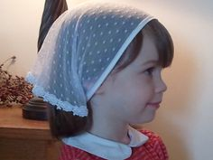 Girls chapel veil via  Etsy listing at https://www.etsy.com/listing/102062096/girls-catholic-chapel-veil-in-delicate