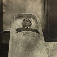 Antique c1920 Young Man Coffin Post Mortem Photo RPPC