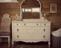 SOLD| Cream & grey Gustavian painted antique dresser, shabby chic dresser, vintage style, painted dresser with mirror, cottage style dresser #shabbychicdressersgrey #shabbychicdresserswithmirror #shabbychicdressersvintage