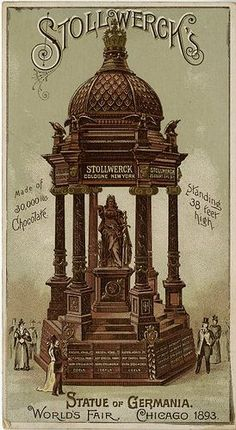 """So cool! There were so many exhibits I wish I could have included in *It Happened at the Fair*"" - Deeanne Gist Stollwerck's Statue of Germania - Made of 30,000 lbs chocolate - Standing 38 feet high; World's Fair Chicago 1893. John and Jane Adams Trade Card Collection."