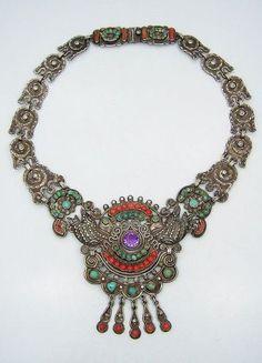 Matilde Poulat Matl Jeweled Vintage Mexican Silver Palomas Necklace