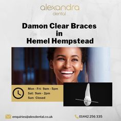 Damon clear braces are the combination of clear braces and invisible aligners. Alexandra Dental Practice offers Damon clear braces in Hemel Hempstead to straighten teeth quickly and with minimal discomfort. Hemel Hempstead, Teeth Straightening, Orthodontics, Damon, Braces, Dental, How To Find Out, Minimal, Self