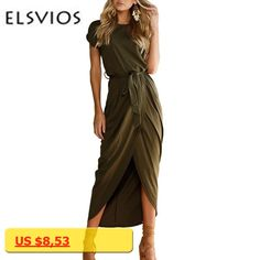 ELSVIOS 6 Colors Sexy Summer Dress Lady Outfit High Split Casual Long Maxi Dress Solid Womens Retro Dresses With Belt Vestidos