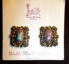 Clip on Earrings JUDY LEE   Vintage Gold tone Filigree IRIDESCENT Stone USA Made #VintageJUDYLEE #CliponEarringsJewelry