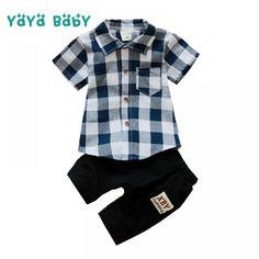 7408abf7f18c Fashion Summer Boys Clothes Children Clothing Set Plaid Shirts Black Shorts  2pcs Kids Suits for Boy