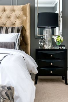 BLACK NIGHTSTAND with THREE DRAWERS | An exquisite piece of furniture crafting with the glamour of classic design. With golden handles and small legs, all the attentions are in the three drawers | http://masterbedroomideas.eu #luxuryfurniture #interiordesign #masterbedroomideas