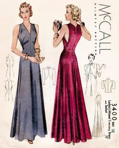vintage evening gown sewing pattern reproduction / cocktail dress and bolero / English & French / bust 32 34 36 38 40 42 / 1930 - 1939 evening dress pattern with cropped bolero jacket. Sleeveless dress with unique seam placement - Evening Dress Patterns, Vintage Dress Patterns, Vintage Dresses, Vintage Outfits, Moda Vintage, Vintage Evening Gowns, Evening Dresses, Dinner Dresses, 1930s Evening Dress