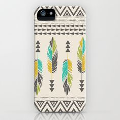 Painted Feathers-Cream iPhone & iPod Case