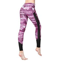 67e2a8be1c4 Sexy Women Leggings Pants Hip Push Up High Waist Print Mesh Polyester  Stretch Quick Dry Fitness