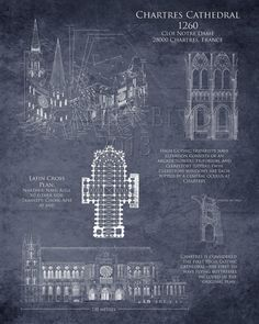 Chartres Cathedral  Art HIstorical Architectural by ScarletBlvd, $25.00