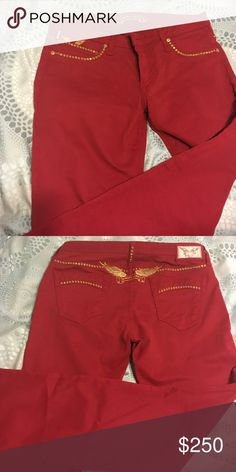 Women's Robin Jean Pants Wine Red with Gold jewels. Worn once. Robin's Jean Jeans Straight Leg