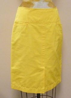 *PRETTY* Yellow Daffodil LIDA BADAY Lined Split Pencil Skirt Sz 10 Medium WOW  #LidaBaday #StraightPencil