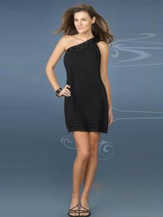 Black Chiffon Neckline Sequins for Accented Cocktail Dress