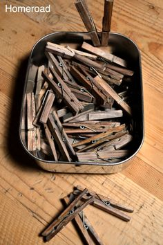 DIY Aged Clothespins. Fill a container with white vinegar and a steel wool pad. Leave overnight. Drop clothespins in, coat each thoroughly. Remove after a few minutes, lay on rag to dry.