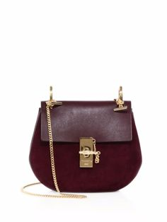 Chloe Drew Small Suede   Leather Saddle Crossbody Bag Dark Purple  1950  Saks Calf Leather 90cd3be614905
