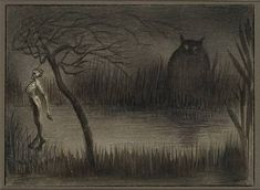 Alfred Kubin – is usually categorised as an Expressionist, but I'm going to put my foot down, despite having no qualifications as an art historian, and call him a Symbolist. Dark Artwork, Artwork Images, Metal Artwork, Illustrations, Illustration Art, Alfred Kubin, Creepy Paintings, Myths & Monsters, Horror Monsters
