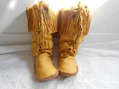 Tall Moccasin Boots Lace Up Moccasins Native by FaeMoonWolfDesigns