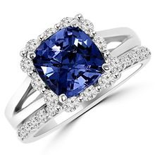 3.37ct Fine Tanzanite & Diamond Matching Engagement Ring Set