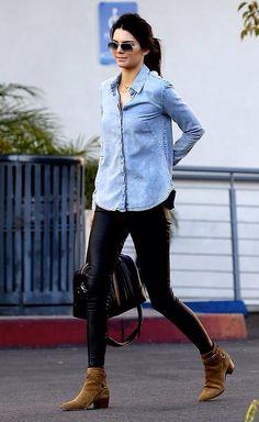 Kendall Jenner wearing Balenciaga Leather Leggings 740d0e7756ad0