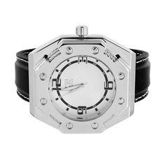 Mens Silver Tone Watch Black Leather Strap Analog Screw Design Bezel