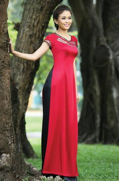 Modern ao dai, laced cut out, short sleeve, v neck collar
