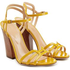 Sergio Rossi Patent Leather Sandals ($455) ❤ liked on Polyvore featuring shoes, sandals, heels, yellow, wooden heel shoes, patent leather shoes, sergio rossi sandals, wood heel sandals and yellow sandals