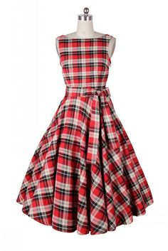 Belted Red Plaid Vintage Dress size 6